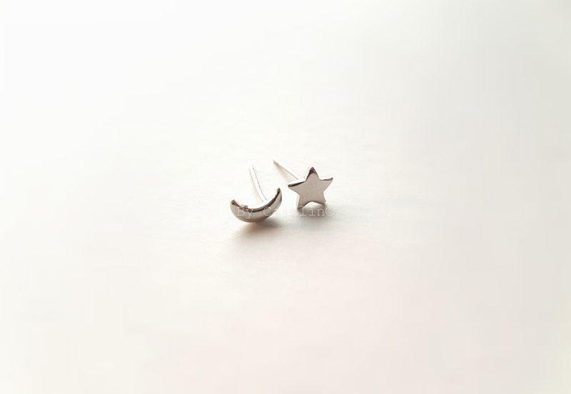 ster en maan studs oorbellen