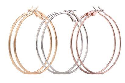 Set van 3 kleuren medium hoops zilver goud rosé
