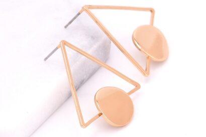 Driehoek oorbellen abstract zilver goud