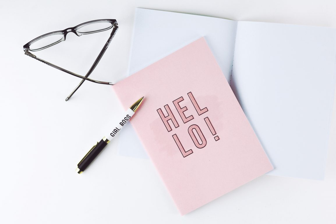 Tags: flat lay, card, glasses, writing, pen, notebook, desk, top, feminine, simple, clean, minimal, elegant, objects, creative, design