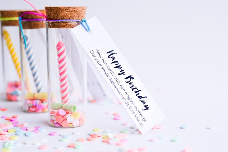 verjaardag wensflesje alternatief voor wenskaart